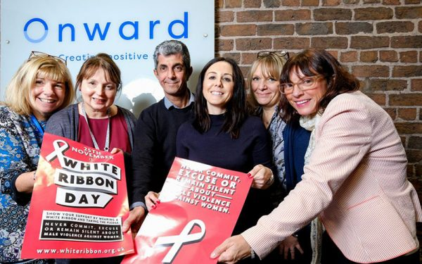 Onward staff show support for White Ribbon Campaign
