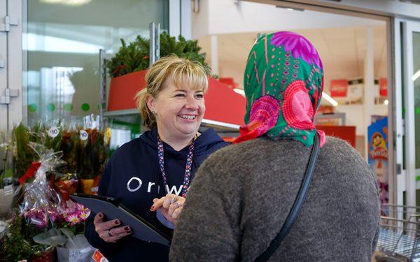 Onward team member talking to a customer