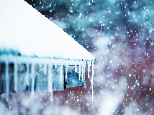 A frozen roof in winter
