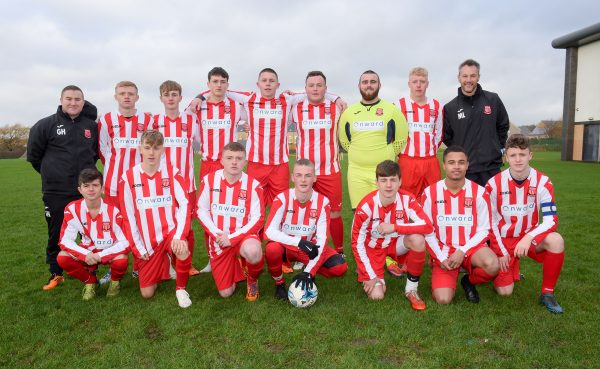 Hattersley FC in their new kits supplied by Onward