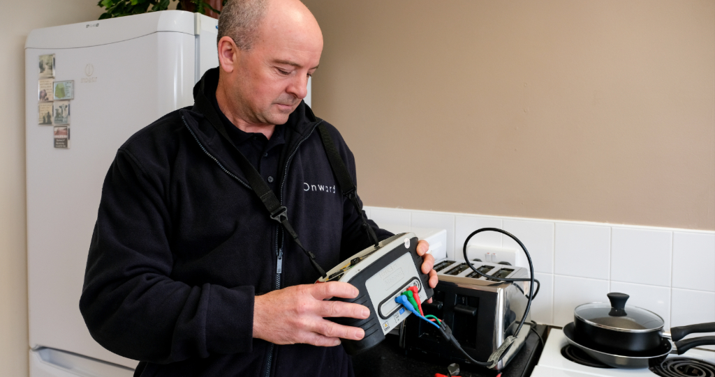 Onward repairs contractor carrying out electrical testing